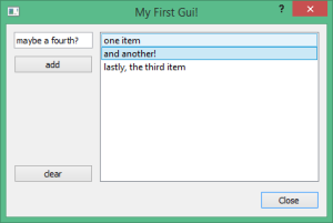 firstgui.py with items entered by the user